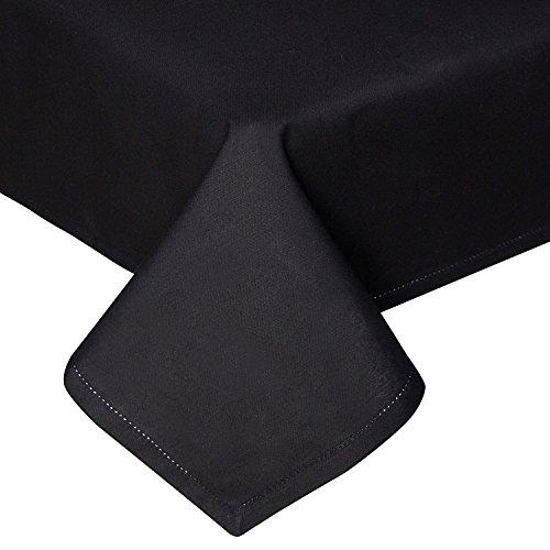 HOMESCAPES Nappe de Table carrée, Linge de Table en Coton uni Noir - 137 x 137 cm