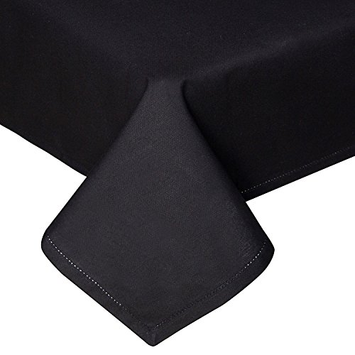 HOMESCAPES Nappe de Table carrée, Linge de Table en Coton uni Noir - 137 x 137 cm