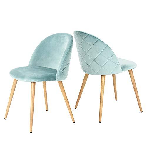 GroBKau - Juego de 2 sillas de salón de tela de terciopelo retro, tapizadas con patas de metal, estilo madera, sala de espera moderno, muebles de oficina, color verde
