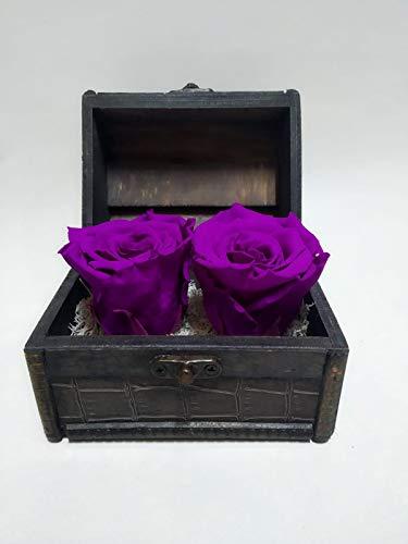 Rosa Natural preservada eterna, Color Morado. Envío Premium. Cofre de Madera con Dos Rosas eternas Color Morado Lila. Fabricado en España
