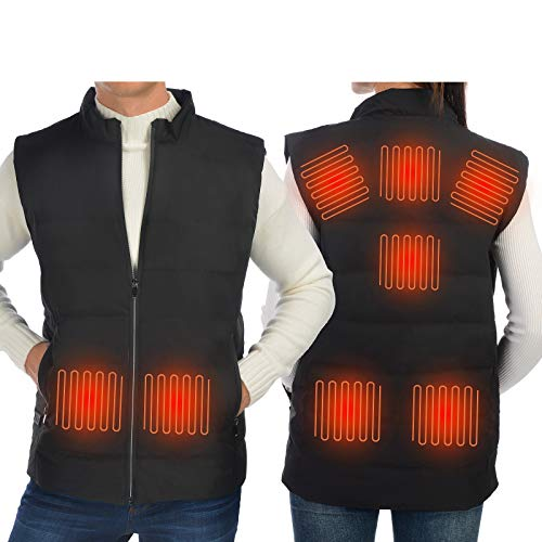 Anoopsyche Heated Down Vest 8 Heating Pads 3 Level Temps for Women Men