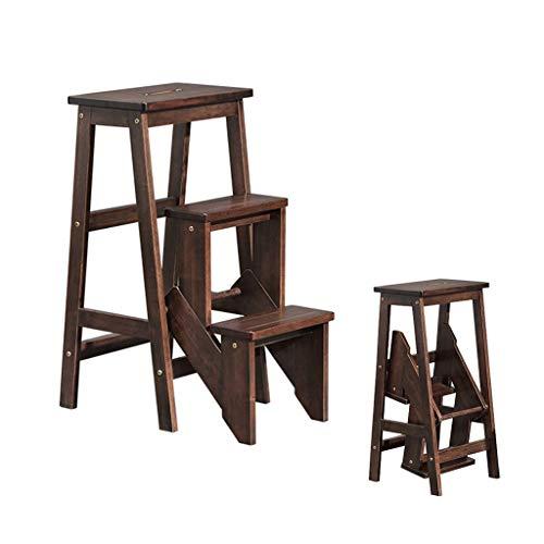 Taburete de madera de 3 escalones, taburete plegable de madera maciza / taburete de escalera de cocina para niños / taburete portátil de interior para cambiar zapatos / soporte de flores (nogal)