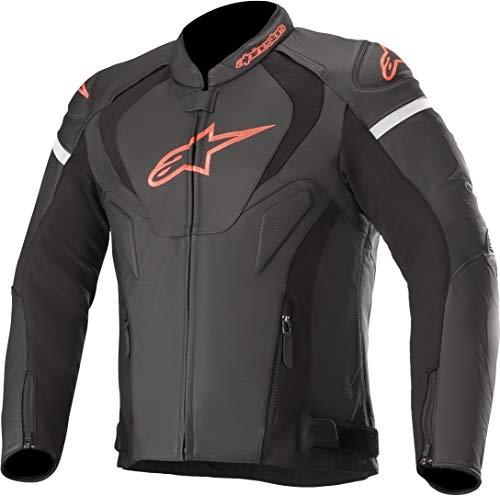 Alpinestars Chaqueta moto Jaws V3 Leather Jacket Black Red Fluo, Negro/Rojo, 58