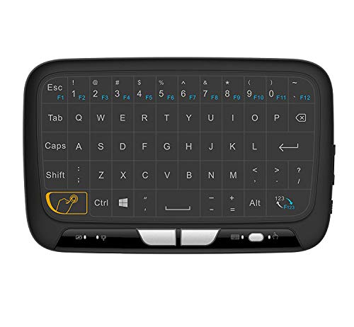 2.4Ghz Mini Wireless Mouse Keyboard with Whole Panel Touchpad,Portable Rechargeable QWERTY Keyboard Remote Combos for Google Android TV Box, HTPC, IPTV, Windows PC, Xbox 360, PS3, PS4