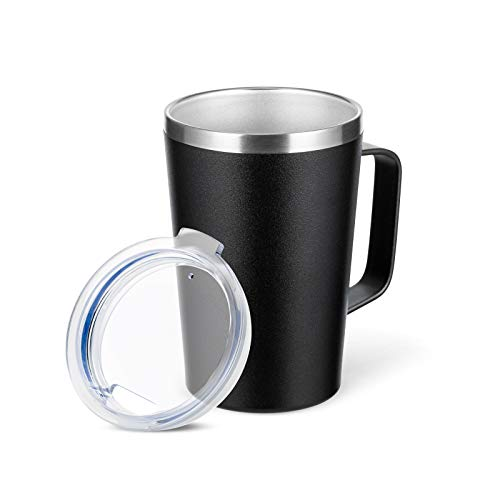 TUMZAK 16oz Stainless Steel Coffee Mug with Lid, Double Wall Trave Mug with Handle, Vacuum Insulated Coffee Mug Cup for Coffee, Powder Coated Travel Coffee Mug for Hot & Cold Drinks (Black, 1 Pack)