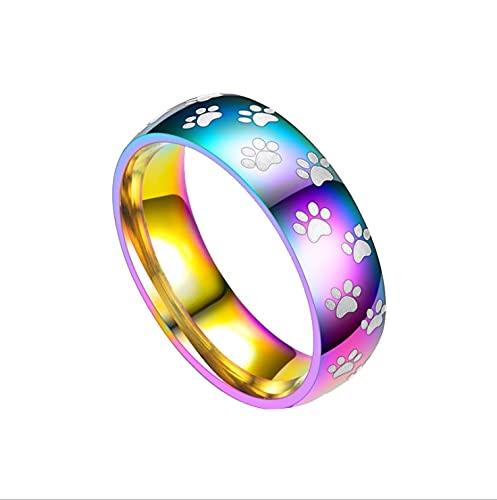 ZIYUYANGAnillo de boda de acero inoxidable anillo de pareja de arco iris para mujer ancho 8 mm 11