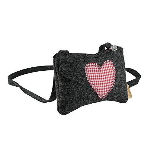 BIOZOYG Annerl Dirndl Tasche Filz mit Schultergurt 140 cm I Damen Trachten-Tasche aus 100% Natur-Filzwolle (Merinowolle) mit attraktiver Herz...