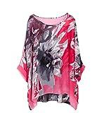 Wiwish Women's Bohemian Style Summer Beach Lagenlook Top Kimono Loose Waterfall Chiffon Kaftan Poncho Shirt,One Size,Tmxgh240