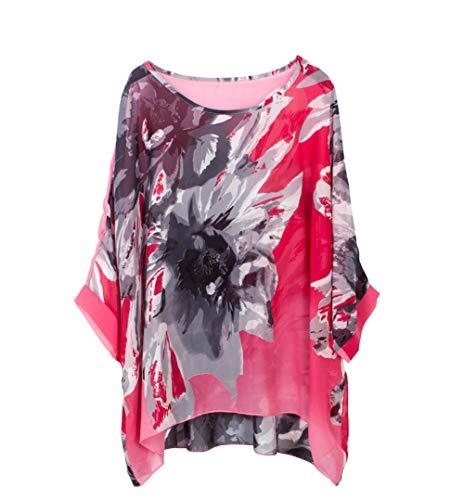 Wiwish Damen Bohemian-Stil Sommer Strand Lagenlook Top Kimono Lose Wasserfall Chiffon Kaftan Poncho Shirt - - Einheitsgröße