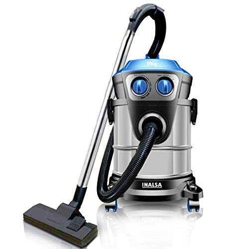 INALSA Vacuum Cleaner Commercial/ Industrial Wet and Dry Ultra WD21 -1600W with 3 in 1 Multifunction Wet/Dry/Blowing|Hepa Filteration & 21KPA Powerful Suction,(Black/Blue)