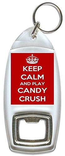 Houd kalm en spelen snoep Crush - fles Opener Sleutelhanger