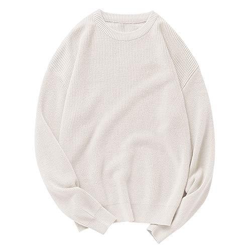 DISCOUNTL Casual Sweater Rundhalsausschnitt, einfarbig, langärmelig Gr. XL, Puder