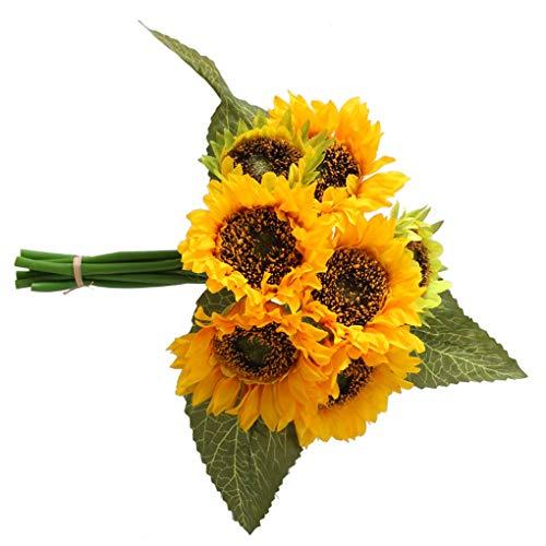 rongweiwang Simulación Floral Artificial del Ramo del Girasol Decoración Hogar Ramo de Flores Artificiales Ramo de Apoyo…