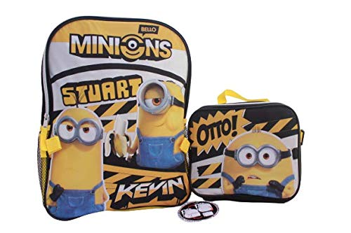 Minions Gru School Backpack Bookbag Insulated Lunch Box + Name Tag (3 Pieces SET)