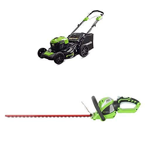 Greenworks 21-Inch 40V Self-Propelled Cordless Lawn Mower with 24-Inch 40V Cordless Hedge Trimmer with Rotating Handle Battery Not Included -  Sunrise Global Marketing, LLC