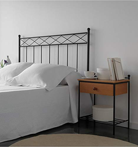 Cabecero de forja Trenza - Negro 27, Cabecero para colchón de 180 cm