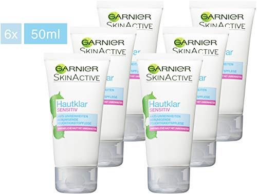 Garnier Hautklar Sensitiv Anti-Unreinheiten Beruhigende Feuchtigkeitspflege, Anti Pickel durch Salicylsäure (6 x 50 ml)
