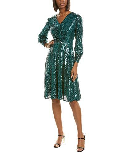 Tahari ASL Women's Long Sleeve Surplus Wrap Dress, Emerald Sequin, 6