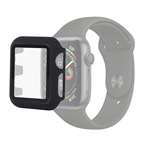 Wdckxy - Funda de reloj inteligente para Apple Watch Series 5 y 440 mm, PC + carcasa protectora de cristal (color: negro)