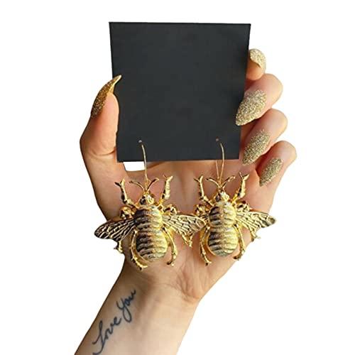 TopLAD Brincos Big Bumblebee retrô de liga metálica, brincos pendentes de abelha dourada vintage, joias femininas estilo Queen para mulheres e meninas