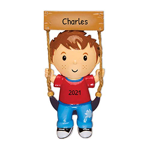 Personalized Boy on Swing Christmas Tree Ornament 2019 - Happy Toddler Baby Wooden Hanging Seat in Playground Child Best Kid Grand-Son Lover First Milestone Gift Year - Free Customization