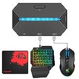 Combo de teclado y mouse para juegos, teclado retroiluminado de arcoíris con cable RGB Mouse para juegos Conversor de retroiluminación LED para Nintendo Switch/Xbox One/Xbox 360/PS4 /PS3/PC (Negro)