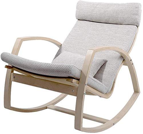 Lhak Sillón reclinable al Aire Libre La Gravedad Cero al Aire Libre Plegable Silla de jardín, Mecedora de jardín Plegable al Aire Libre balcón terraza, Porche (Color : Gray+Wood Color Frame)