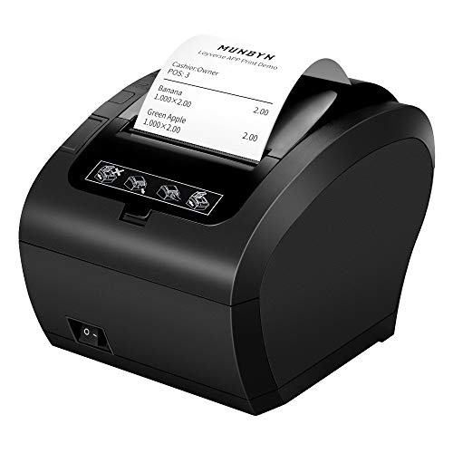 MUNBYN Android Bluetooth Thermal Receipt Printer POS Printer with USB Ethernet Serial Port for Android Windows, Mac, Linux and ChromeOS, Restaurant Shop Home Business ESC/POS, Black