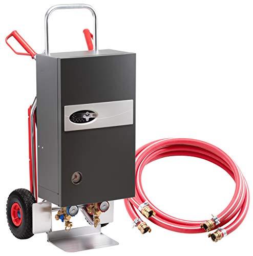 Mobile Heizzentrale vollelektronisch für Bautrocknung Estrichtrocknung komplett mit Schlauchpaket (2x 5 Meter und GEKA-Kupplung), Ausdehnungsgefäß und Alu-Transportkarre