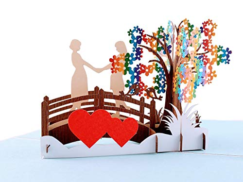 iGifts And Cards Awesome Lesbian Couple True Love 3D Pop Up Greeting Card - Wedding, Marriage, Engagement, Anniversary, Half-Fold, Pride, Lovers, Women, Brides, Wives, LGBT, Romantic, Rainbow, Unique