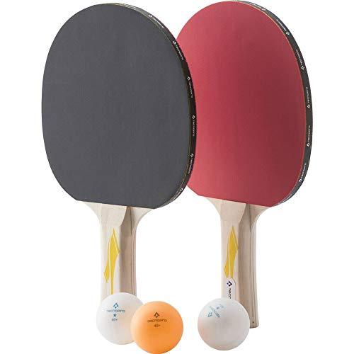 TECNOPRO Unisex– Erwachsene Pro 2000-2 Player Tischtennis-Set, Black/Red, 1size