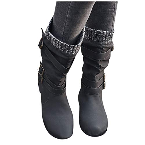 Woolkey Middle Boots for Women Western Short Mid Calf Boots Round Toe Chunky Low Heel Solid Color Retro Buckle Strap Leather Work Knight Boots for Ladies Outdoor Street Riding (Black, 9.5-10)