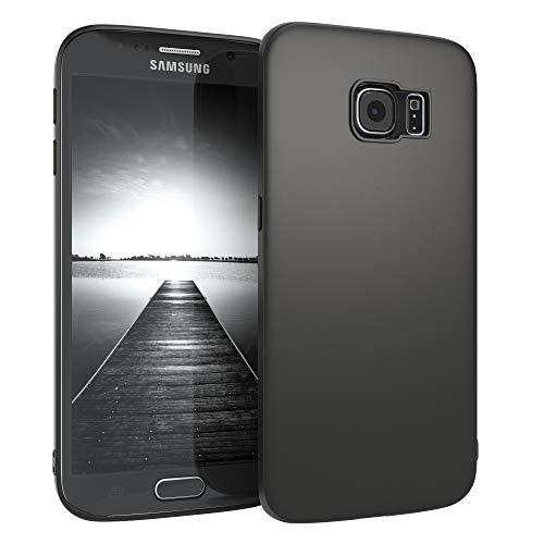 EAZY CASE Handyhülle Silikon mit Kameraschutz Samsung Galaxy S6 Edge in schwarz matt, Ultra dünn, Slimcover, Silikonhülle, Hülle, Softcase, Backcover