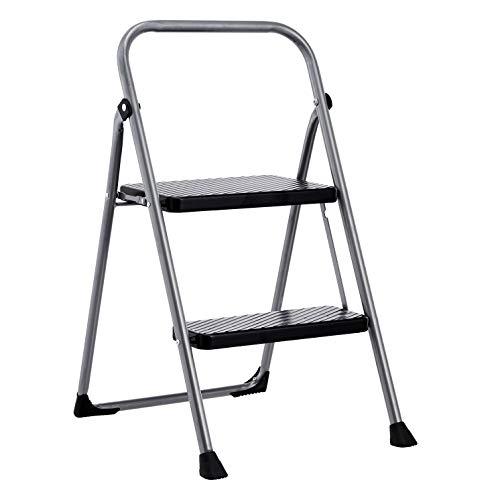 Amazon Basics Folding Step Stool - 2-Step, Steel, 200-Pound Capacity, Grey and Black
