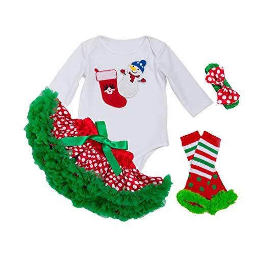 YuanDian Bebè Bambina 4pcs Natale Costume Completini Set Partito Vestiti Abiti Neonato Battesimo Babbo Natale Abbigliamento Tutu Gonne + Tutina + Fasc