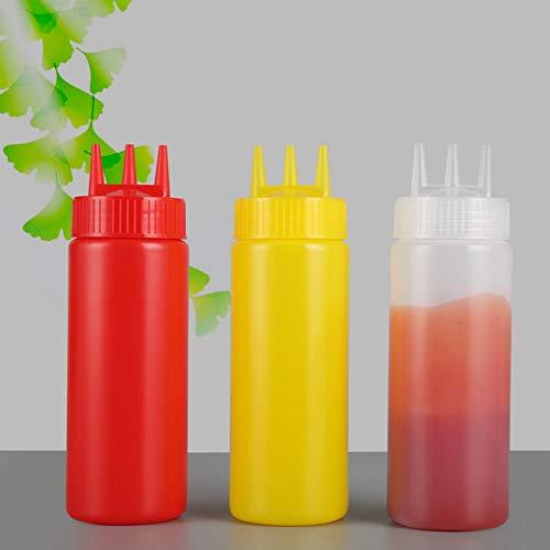 Botella de condimento, 3 piezas Botella de condimento exprimible de 3 orificios, con tapa Accesorio de cocina para el hogar Restaurante Ensalada Aderezo Salsas Ketchup