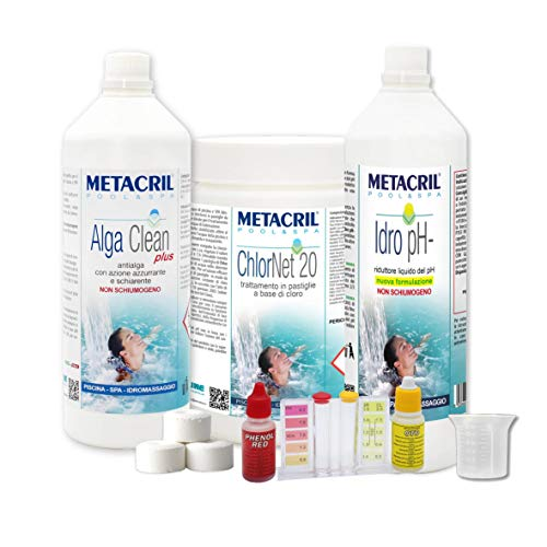 Metacril Chlor Starter Kit para tratamiento de agua a base de cloro en pastillas de 20 g. Ideal para piscina...