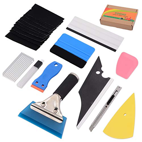 FOSHIO 10 in 1 Vinyl Wrap Tool Kit with Rubber Contour Squeegee, Blue Card Squeegee & Fabric Felt, Plastic Razor Scraper, Film Cutter & Blades, Scratch-Proof Window Tint Tools for Car Wrap Wallpaper