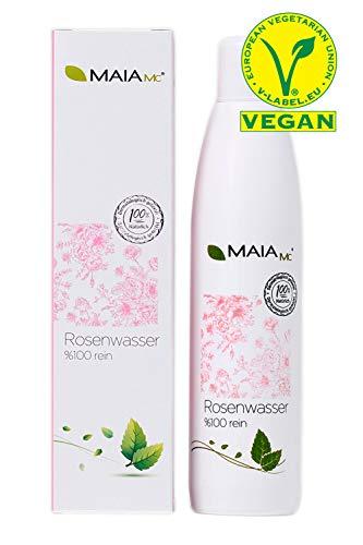 Bio Rosenwasser 100{0493fe13ca0b19641e00dc6de9ba6eabccb40672440cfb81211edf61afbfc94a} von MAIA MC - VEGAN - Reinigungswasser Gesichtswasser 250 ml - MIT Vitamin C - OHNE Zusatzstoffe -Naturkosmetik - gegen Mitesser- unreine Haut - Poren verkleinern