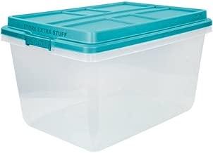 72-Qt Hi-Rise Clear Latch Box, Teal Sachet Lid and Handles, Set of 3