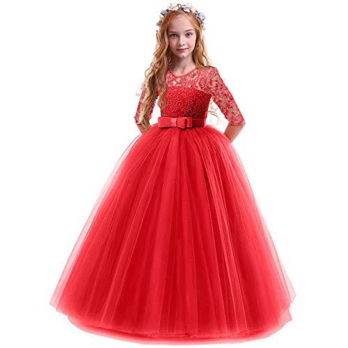 OBEEII Bambina Vestito Principessa in Pizzo Manica Mezza Abbigliamento Bambine Invernale Eleganti Abito Principessa de Festa Cerimonia Sposa Sera per Ragazza 5-6 Anni Rosso