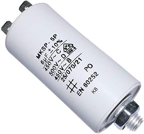 AERZETIX - Condensador Permanente para Trabajo de Motor - 6µF 450V - ⌀30/58mm - con 2 terminales - M8 - Cuerpo de Plástico Cilíndrico Blanco - C10188