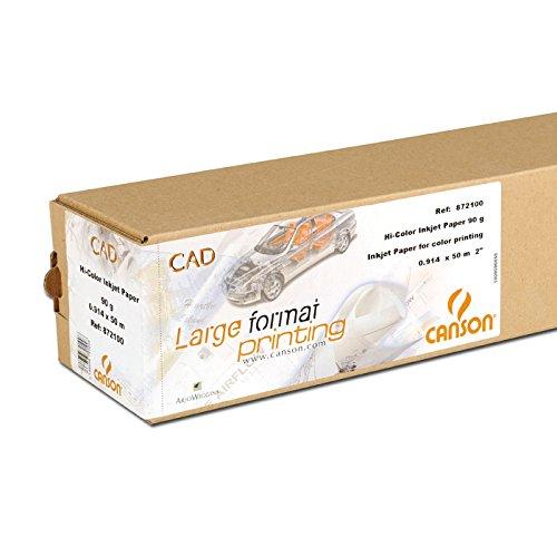 Canson 872100 Carta per plotter formato economico, superficie opaca, 914 mm x 50 m, 90 g qm, colore: Bianco