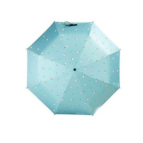 Black Temptation Compact Travel Foldable Umbrella Winddicht Leicht mit Anti-UV/Slip Griff, Häschen, Hellblaues