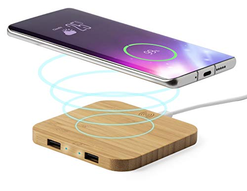 MKTOSASA - Mini Cargador Inalámbrico Qi 5W de Bambú y 2 Salidas USB para Carga por Cable 2100mAh. Carga 3 Dispositivos simultáneamente. para iPhone, Samsung, Android, Móviles, Tabletas - 9x0.9x9