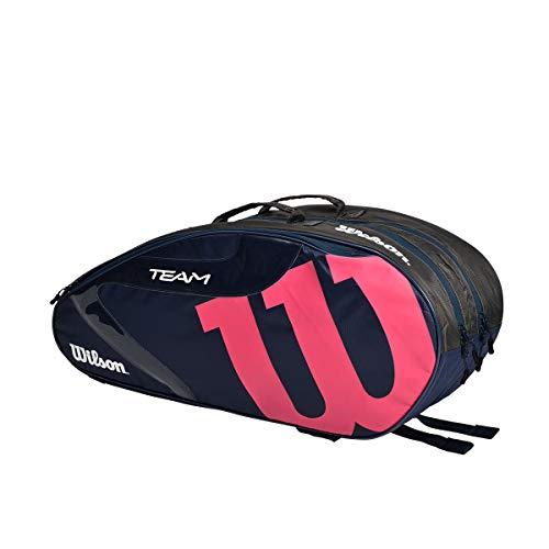 Wilson(ウイルソン) テニス バドミントン ラケットバッグ TEAMJ 1.0 6PK (チームJ 1.0 6パック) 76x23x32cm ラケット6本まで収納可 (中厚程度のラケットを基準) ネイビー・ピンク WR8014702001
