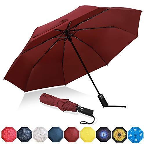 Eono by Amazon - Regenschirm Taschenschirm Kompakter Falt-Regenschirm, Winddichter, Auf-Zu-Automatik, Teflonbeschichtung, Verstärktes Dach, Ergonomischer Griff, Schirm-Tasche, Burgund