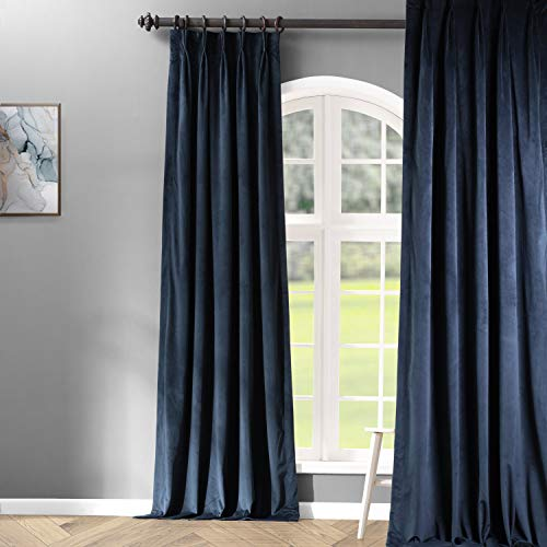 HPD Half Price Drapes VPCH-194023-108-FP Signature Pleated Blackout Velvet Curtain (1 Panel), 25 X 108, Midnight Blue