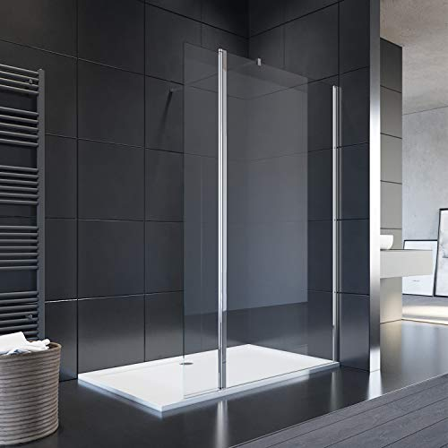 SIRHONA Paroi de douche l'italienne 80 x 190 cm avec panneau de verre de mobile 30 cm Porte de douche avec barre de fixation, 8mm verre trempé la porte douche