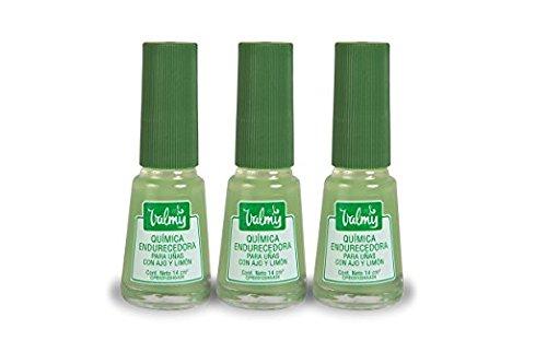 Valmy Endurecedor y Blanqueador de uñas con Ajo y Limón - 14 ml – Tratamiento fortalecedor para uñas sanas y fuertes - Pack of 3